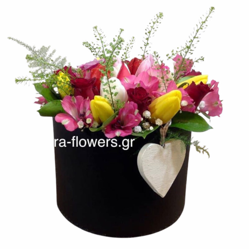 hat box with various flowers